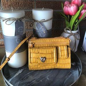BRIGHTON Mustard Croc Leather Crossbody Bag